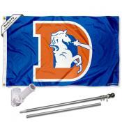 Denver Broncos Retro Flag Pole and Bracket Kit