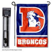 Denver Broncos Retro Logo Garden Flag and Stand