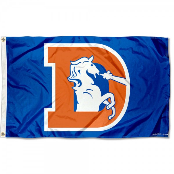 Our Denver Broncos Throwback Flag is double sided, made of poly, 3'x5', has two metal grommets, indoor or outdoor, and four-stitched fly ends. These Denver Broncos Throwback Flags are Officially Licensed by the NFL.