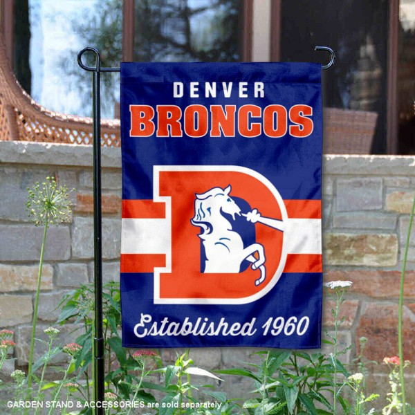 Denver Broncos Throwback Logo Double Sided Garden Flag Flag is 12.5x18 inches in size, is made of 2-ply polyester, and has two sided screen printed logos and lettering. Available with Express Next Day Ship, our Denver Broncos Throwback Logo Double Sided Garden Flag Flag is NFL Officially Licensed and is double sided.