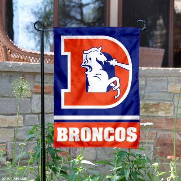 Denver Broncos Throwback Logo Garden Flag is 12.5x18 inches in size, is made of 2-ply polyester, and has two sided screen printed logos and lettering. Available with Express Next Day Ship, our Denver Broncos Throwback Logo Garden Flag is NFL Officially Licensed and is double sided.