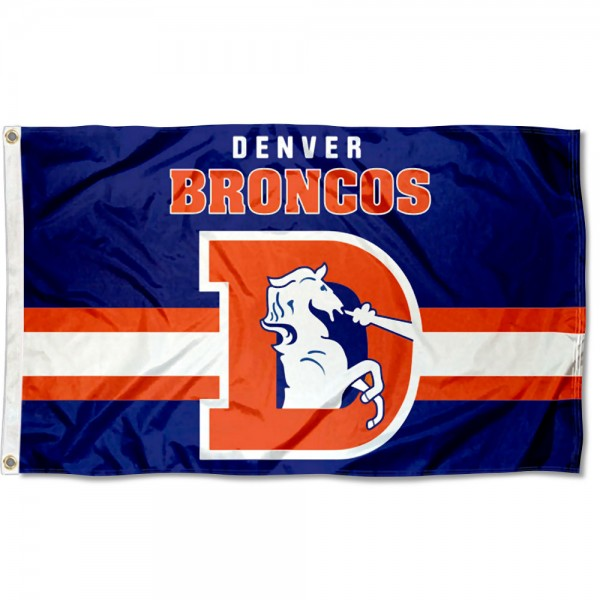 Our Denver Broncos Throwback Retro Vintage Logo Flag is double sided, made of poly, 3'x5', has two metal grommets, indoor or outdoor, and four-stitched fly ends. These Denver Broncos Throwback Retro Vintage Logo Flags are Officially Approved by the Denver Broncos.