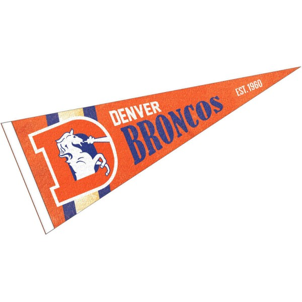 This Denver Broncos Throwback Vintage Retro Pennant is 12x30 inches, is made of premium felt blends, has a pennant stick sleeve, and the team logos are single sided screen printed. Our Denver Broncos Throwback Vintage Retro Pennant is NFL Officially Licensed.