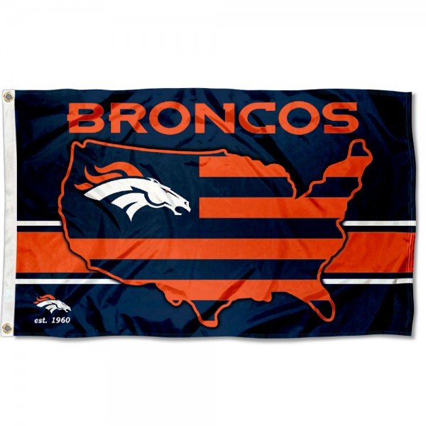 Our Denver Broncos USA Country Flag is double sided, made of poly, 3'x5', has two metal grommets, indoor or outdoor, and four-stitched fly ends. These Denver Broncos USA Country Flags are Officially Approved by the Denver Broncos.