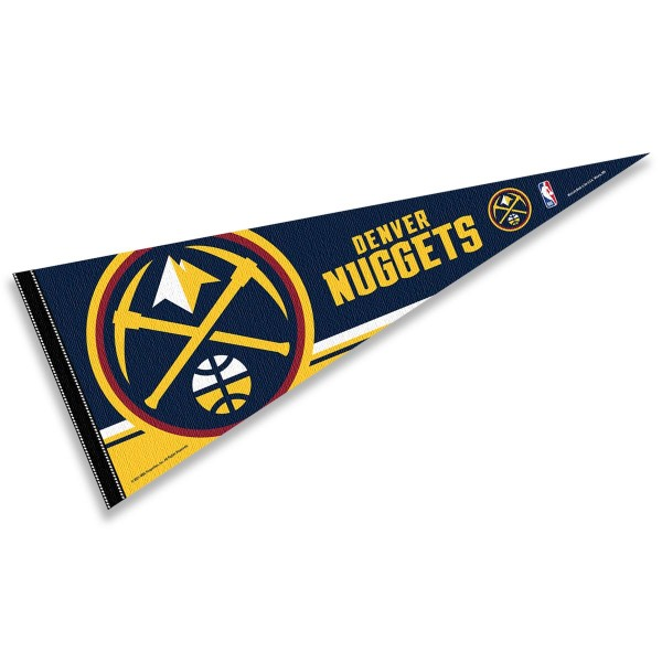 This Denver Nuggets Pennant measures 12x30 inches, is constructed of felt, and is single sided screen printed with the Denver Nuggets logo and insignia. Each Denver Nuggets Pennant is a NBA Officially Licensed product.