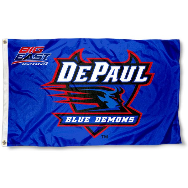 DePaul Big East Logo Flag measures 3'x5', is made of 100% poly, has quadruple stitched sewing, two metal grommets, and has double sided Team University logos. Our DePaul Big East Logo Flag is officially licensed by the selected university and the NCAA.