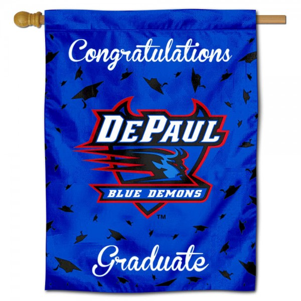 DePaul Blue Demons Congratulations Graduate Flag measures 30x40 inches, is made of poly, has a top hanging sleeve, and offers dye sublimated DePaul Blue Demons logos. This Decorative DePaul Blue Demons Congratulations Graduate House Flag is officially licensed by the NCAA.