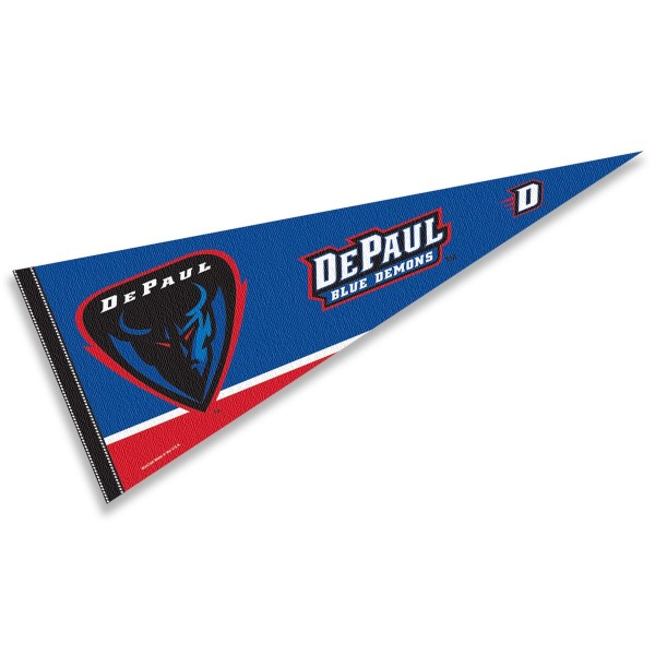 DePaul Blue Demons Decorations consists of our full size pennant which measures 12x30 inches, is constructed of felt, is single sided imprinted, and offers a pennant sleeve for insertion of a pennant stick, if desired. This DePaul Blue Demons Decorations is officially licensed by the selected university and the NCAA