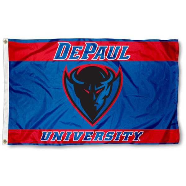 This DePaul Blue Demons Flag measures 3'x5', is made of 100% nylon, has quad-stitched sewn flyends, and has two-sided DePaul Blue Demons printed logos. Our DePaul Blue Demons Flag is officially licensed and all flags for DePaul Blue Demons are approved by the NCAA and Same Day UPS Express Shipping is available.