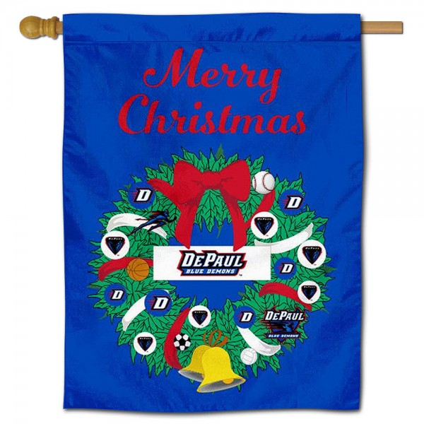DePaul Blue Demons Happy Holidays Banner Flag measures 30x40 inches, is made of poly, has a top hanging sleeve, and offers dye sublimated DePaul Blue Demons logos. This Decorative DePaul Blue Demons Happy Holidays Banner Flag is officially licensed by the NCAA.