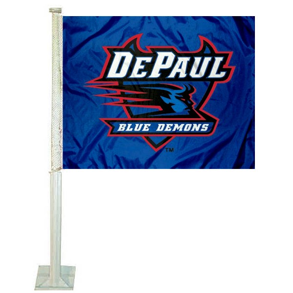 DePaul Blue Demons Logo Car Flag measures 12x15 inches, is constructed of sturdy 2 ply polyester, and has screen printed school logos which are readable and viewable correctly on both sides. DePaul Blue Demons Logo Car Flag is officially licensed by the NCAA and selected university.