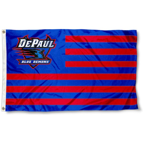 DePaul Blue Demons Stripes Flag measures 3'x5', is made of polyester, offers double stitched flyends for durability, has two metal grommets, and is viewable from both sides with a reverse image on the opposite side. Our DePaul Blue Demons Stripes Flag is officially licensed by the selected school university and the NCAA.
