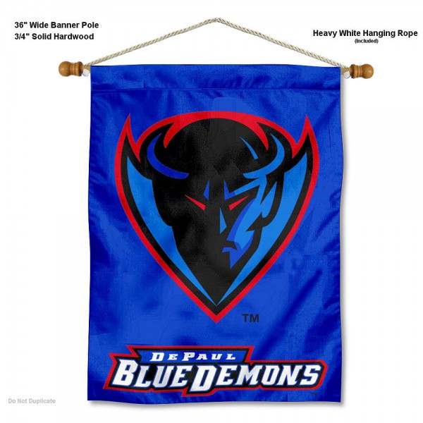 "DePaul Blue Demons Wall Banner is constructed of polyester material, measures a large 30""x40"", offers screen printed athletic logos, and includes a sturdy 3/4"" diameter and 36"" wide banner pole and hanging cord. Our DePaul Blue Demons Wall Banner is Officially Licensed by the selected college and NCAA."