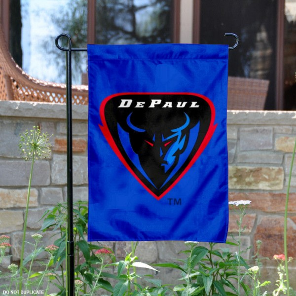 DePaul Blue Garden Flag is 13x18 inches in size, is made of 2-layer polyester, screen printed DePaul University athletic logos and lettering. Available with Same Day Express Shipping, Our DePaul Blue Garden Flag is officially licensed and approved by DePaul University and the NCAA.