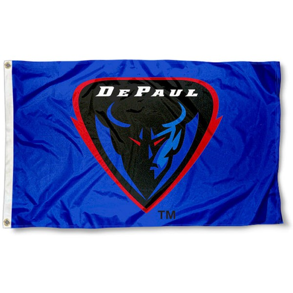 DePaul Logo Outdoor Flag measures 3'x5', is made of 100% poly, has quadruple stitched sewing, two metal grommets, and has double sided DePaul University logos. Our DePaul University Logo Outdoor Flag is officially licensed by the selected university and the NCAA.