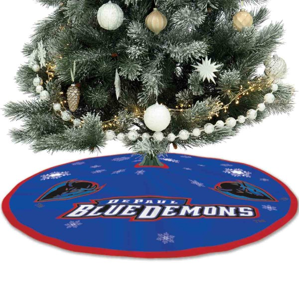 DePaul University Blue Demons Christmas Tree Skirt measures 56 inches circle, is made of 150d polyester, has a contrasting color border. Each college xmas tree skirt includes Officially Licensed Logos and Insignias.