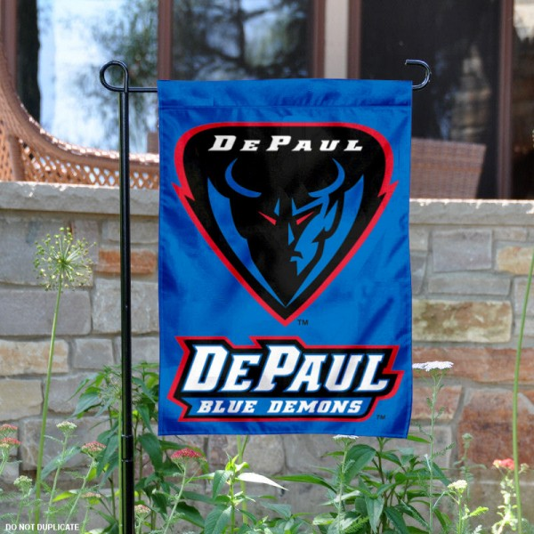 DePaul University Garden Flag is 13x18 inches in size, is made of 2-layer polyester, screen printed DePaul University athletic logos and lettering. Available with Same Day Express Shipping, Our DePaul University Garden Flag is officially licensed and approved by DePaul University and the NCAA.