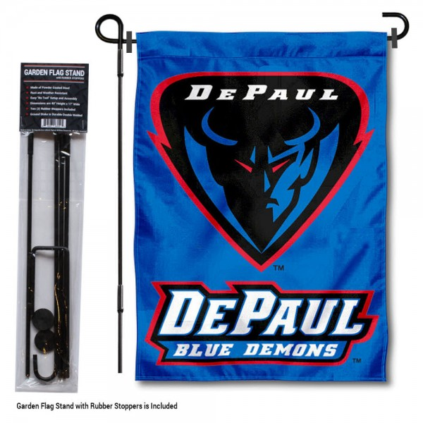 """DePaul University Garden Flag and Stand kit includes our 13""""x18"""" garden banner which is made of 2 ply poly with liner and has screen printed licensed logos. Also, a 40""""x17"""" inch garden flag stand is included so your DePaul University Garden Flag and Stand is ready to be displayed with no tools needed for setup. Fast Overnight Shipping is offered and the flag is Officially Licensed and Approved by the selected team."""