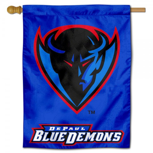 "DePaul University House Flag is constructed of polyester material, is a vertical house flag, measures 30""x40"", offers screen printed athletic insignias, and has a top pole sleeve to hang vertically. Our DePaul University House Flag is Officially Licensed by DePaul University and NCAA."