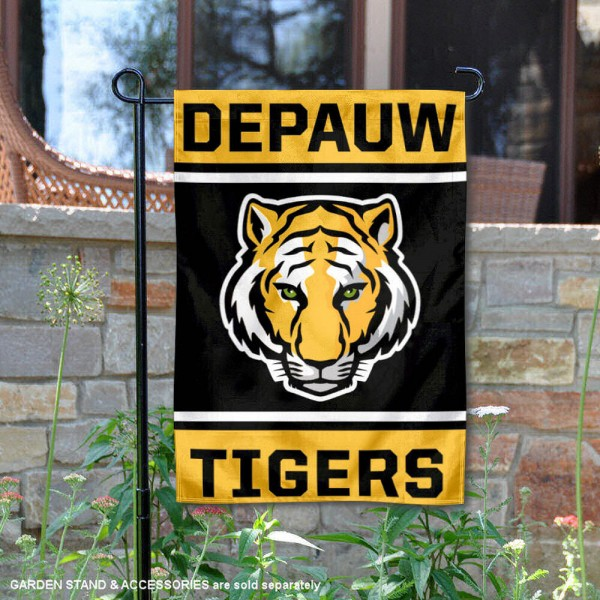 DePauw Tigers Garden Flag is 13x18 inches in size, is made of 2-layer polyester, screen printed logos and lettering. Available with Same Day Express Shipping, Our DePauw Tigers Garden Flag is officially licensed and approved by the NCAA.