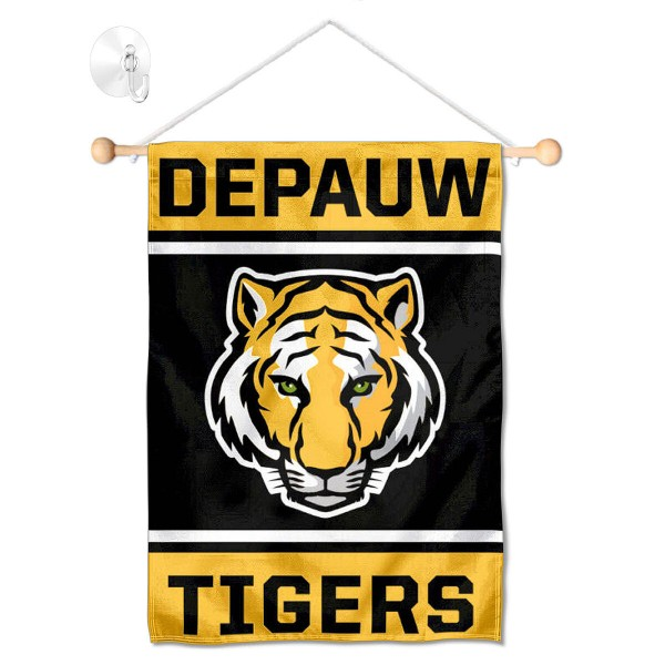 "DePauw Tigers Window and Wall Banner kit includes our 13""x18"" garden banner which is made of 2 ply poly with liner and has screen printed licensed logos. Also, a 17"" wide banner pole with suction cup is included so your DePauw Tigers Window and Wall Banner is ready to be displayed with no tools needed for setup. Fast Overnight Shipping is offered and the flag is Officially Licensed and Approved by the selected team."
