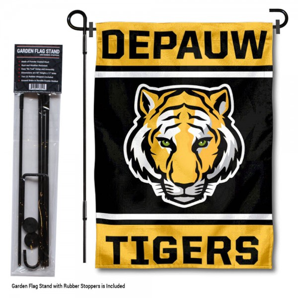 "DePauw University Garden Flag and Stand kit includes our 13""x18"" garden banner which is made of 2 ply poly with liner and has screen printed licensed logos. Also, a 40""x17"" inch garden flag stand is included so your DePauw University Garden Flag and Stand is ready to be displayed with no tools needed for setup. Fast Overnight Shipping is offered and the flag is Officially Licensed and Approved by the selected team."