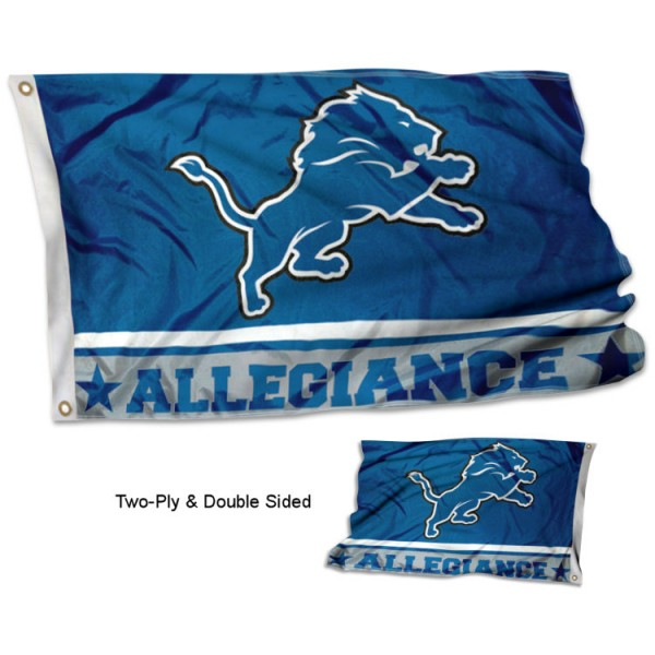 Detroit Lions Allegiance Flag measures 3'x5', is made of 2-ply double sided polyester with liner, has quadruple stitched sewing, two metal grommets, and has two sided team logos. Our Detroit Lions Allegiance Flag is officially licensed by the selected team and the NFL and is available with overnight express shipping.