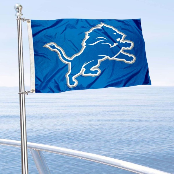 "Our Detroit Lions Boat and Nautical Flag is 12""x18"", made of three-ply poly, has a solid header with two metal grommets, and is double sided. This Boat and Nautical Flag for Detroit Lions is Officially Licensed by the NFL and can also be used as a motorcycle flag, boat flag, golf cart flag, or recreational flag."
