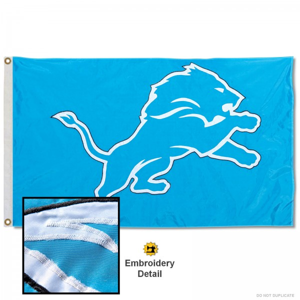 This Detroit Lions Embroidered Nylon Flag is double sided, made of nylon, 3'x5', has two metal grommets, indoor or outdoor, and four-stitched fly ends. These Detroit Lions Embroidered Nylon Flags are Officially Approved the Detroit Lions and NFL.