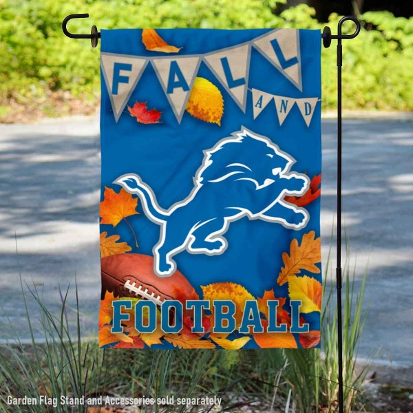 Detroit Lions Fall Football Leaves Decorative Double Sided Garden Flag is 12.5x18 inches in size, is made of 2-ply polyester, and has two sided screen printed logos and lettering. Available with Express Next Day Ship, our Detroit Lions Fall Football Leaves Decorative Double Sided Garden Flag is NFL Officially Licensed and is double sided.