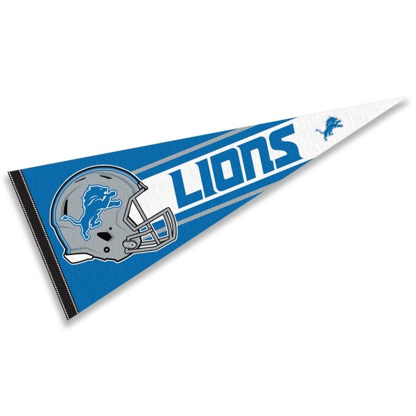 This Detroit Lions Football Pennant measures 12x30 inches, is constructed of felt, and is single sided screen printed with the Detroit Lions logo and helmets. This Detroit Lions Football Pennant is a NFL Officially Licensed product.