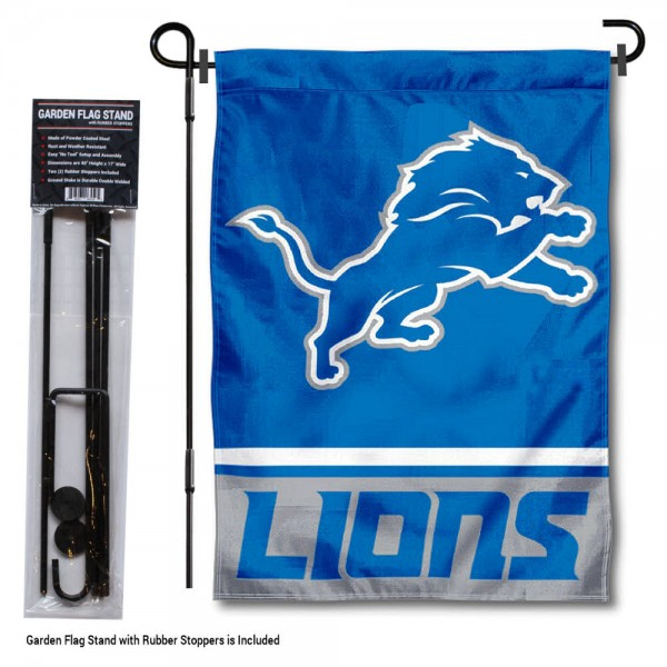 "Detroit Lions Garden Flag and Stand kit includes our 13""x18"" garden banner which is made of 2 ply poly with liner and has screen printed licensed logos. Also, a 40""x17"" inch garden flag stand is included so your Detroit Lions Garden Flag and Stand is ready to be displayed with no tools needed for setup. Fast Overnight Shipping is offered and the flag is Officially Licensed and Approved by the selected team."