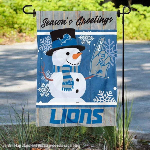 Detroit Lions Holiday Winter Snow Double Sided Garden Flag is 12.5x18 inches in size, is made of 2-ply polyester, and has two sided screen printed logos and lettering. Available with Express Next Day Ship, our Detroit Lions Holiday Winter Snow Double Sided Garden Flag is NFL Officially Licensed and is double sided.