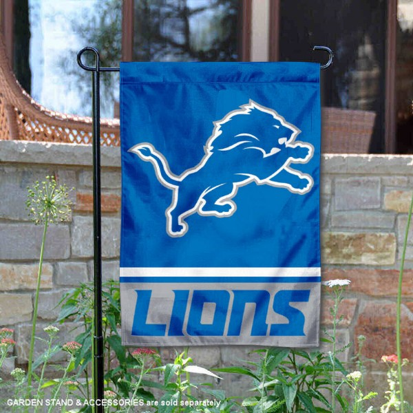 Detroit Lions Logo Garden Flag is 12.5x18 inches in size, is made of 2-ply polyester, and has two sided screen printed logos and lettering. Available with Express Next Day Ship, our Detroit Lions Logo Garden Flag is NFL Officially Licensed and is double sided.