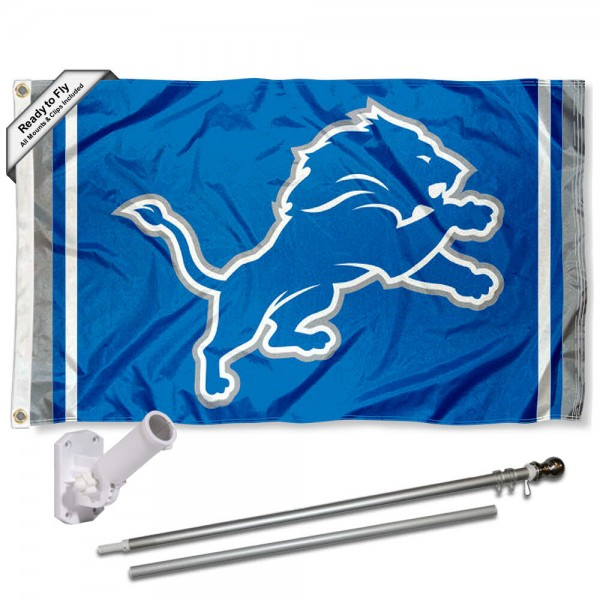 Our Detroit Lions Logo Slogan Flag Pole and Bracket Kit includes the flag as shown and the recommended flagpole and flag bracket. The flag is made of polyester, has quad-stitched flyends, and the NFL Licensed team logos are double sided screen printed. The flagpole and bracket are made of rust proof aluminum and includes all hardware so this kit is ready to install and fly.