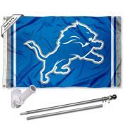 Detroit Lions Logo Slogan Flag Pole and Bracket Kit