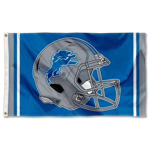 Our Detroit Lions New Football Helmet Flag is double sided, made of poly, 3'x5', has two metal grommets, indoor or outdoor, and four-stitched fly ends. These Detroit Lions New Football Helmet Flags are Officially Approved by the Detroit Lions.