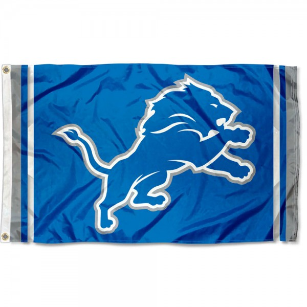 Our Detroit Lions New Logo Flag is double sided, made of poly, 3'x5', has two metal grommets, indoor or outdoor, and four-stitched fly ends. These Detroit Lions New Logo Flags are Officially Approved by the Detroit Lions.