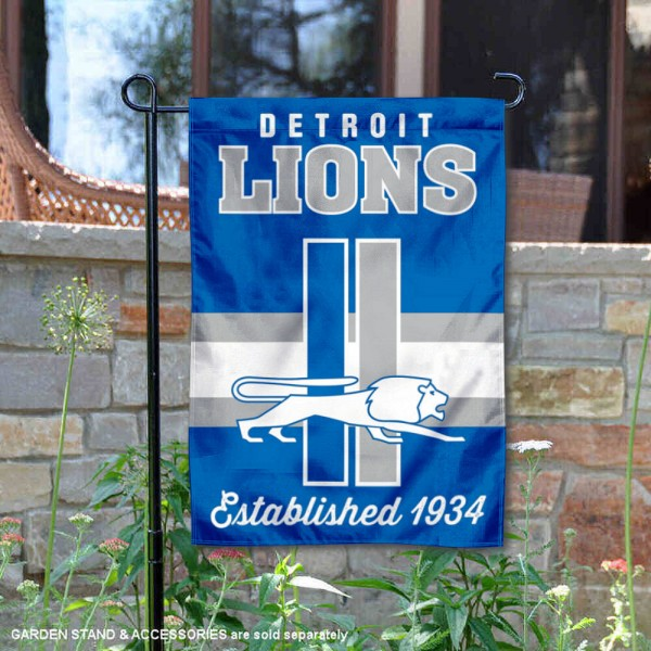 Detroit Lions Throwback Logo Double Sided Garden Flag Flag is 12.5x18 inches in size, is made of 2-ply polyester, and has two sided screen printed logos and lettering. Available with Express Next Day Ship, our Detroit Lions Throwback Logo Double Sided Garden Flag Flag is NFL Officially Licensed and is double sided.