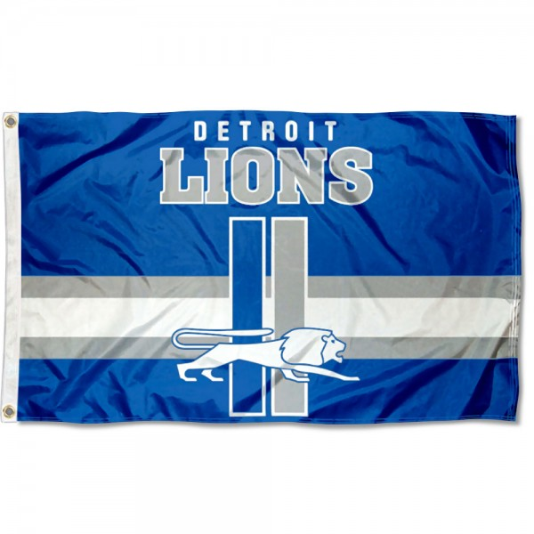 Our Detroit Lions Throwback Retro Vintage Logo Flag is double sided, made of poly, 3'x5', has two metal grommets, indoor or outdoor, and four-stitched fly ends. These Detroit Lions Throwback Retro Vintage Logo Flags are Officially Approved by the Detroit Lions.