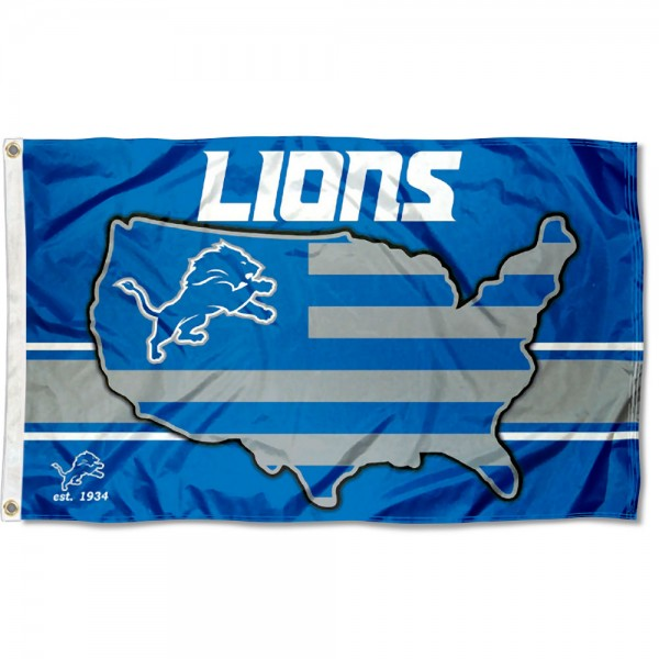Our Detroit Lions USA Country Flag is double sided, made of poly, 3'x5', has two metal grommets, indoor or outdoor, and four-stitched fly ends. These Detroit Lions USA Country Flags are Officially Approved by the Detroit Lions.