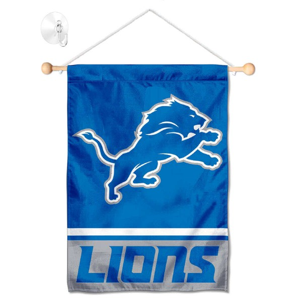"Detroit Lions Window and Wall Banner kit includes our 12.5""x18"" garden banner which is made of 2 ply poly with liner and has screen printed licensed logos. Also, a 17"" wide banner pole with suction cup is included so your Detroit Lions Window and Wall Banner is ready to be displayed with no tools needed for setup. Fast Overnight Shipping is offered and the flag is Officially Licensed and Approved by the selected team."