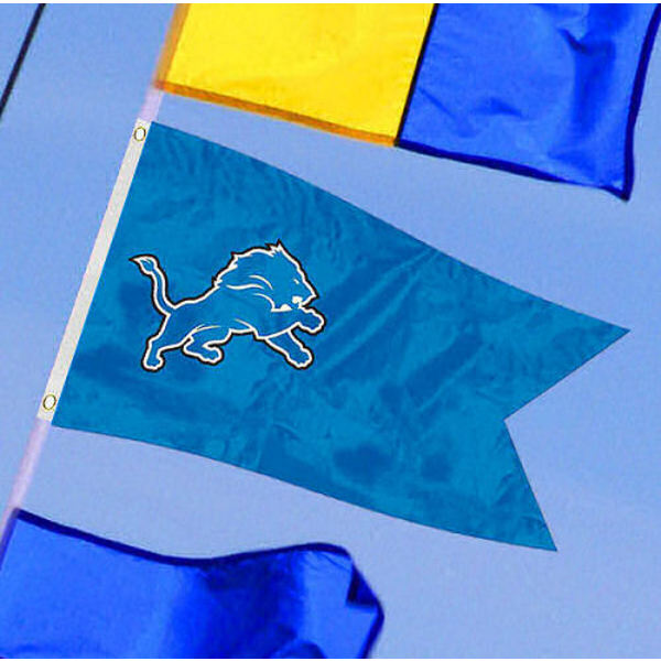 Detroit Lions Yacht Flag measures 12x18 inches, is made of two-ply polyesters, offers double stitched flyends for durability, has two metal grommets, and is viewable from both sides. Our Detroit Lions Yacht Flag is Officially Licensed by the NFL and Teams and can be used as a motorcycle flag, golf cart flag, or ATV flag.