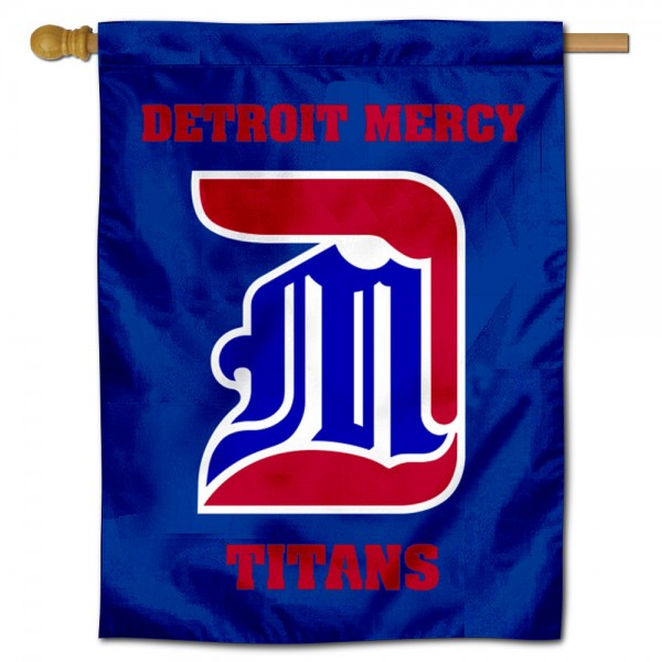 Detroit Mercy Titans Double Sided House Flag is a vertical house flag which measures 30x40 inches, is made of 2 ply 100% polyester, offers screen printed NCAA team insignias, and has a top pole sleeve to hang vertically. Our Detroit Mercy Titans Double Sided House Flag is officially licensed by the selected university and the NCAA.