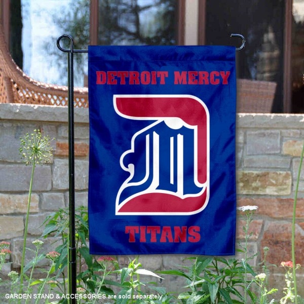 Detroit Mercy Titans Garden Flag is 13x18 inches in size, is made of 2-layer polyester, screen printed university athletic logos and lettering, and is readable and viewable correctly on both sides. Available same day shipping, our Detroit Mercy Titans Garden Flag is officially licensed and approved by the university and the NCAA.