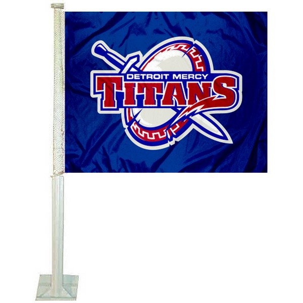 Detroit Mercy Titans Logo Car Flag measures 12x15 inches, is constructed of sturdy 2 ply polyester, and has screen printed school logos which are readable and viewable correctly on both sides. Detroit Mercy Titans Logo Car Flag is officially licensed by the NCAA and selected university.
