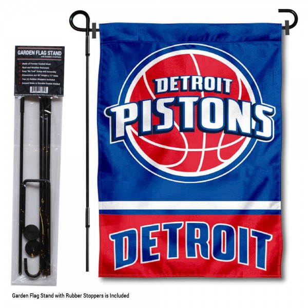 "Detroit Pistons Garden Flag and Flagpole Stand kit includes our 12.5""x18"" garden banner which is made of 2 ply poly with liner and has screen printed licensed logos. Also, a 40""x17"" inch garden flag stand is included so your Detroit Pistons Garden Flag and Flagpole Stand is ready to be displayed with no tools needed for setup. Fast Overnight Shipping is offered and the flag is Officially Licensed and Approved by the selected team."