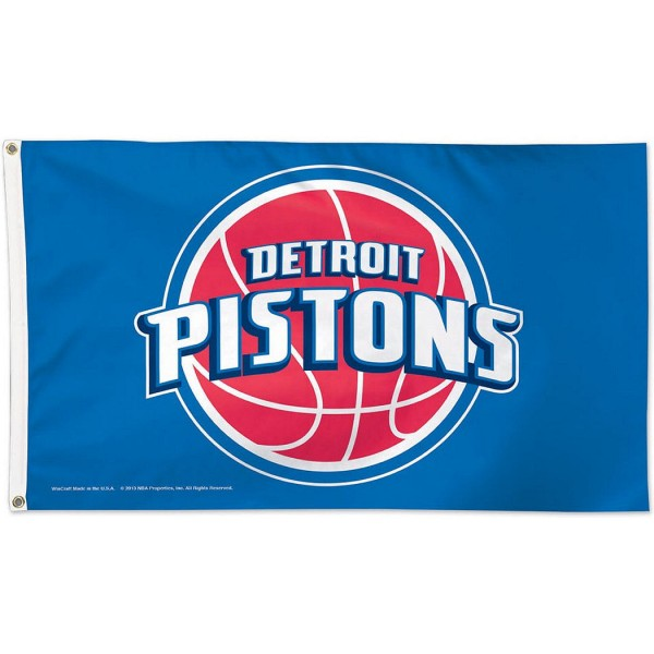 Detroit Pistons NBA Flag measures 3x5 feet and offers 4 stitched flyends for durability. Detroit Pistons NBA Flag is made of polyester, has two metal grommets, and is viewable from both sides with the opposite side being a reverse image. This Detroit Pistons NBA Flag is Officially Approved by the Detroit Pistons and the NBA.