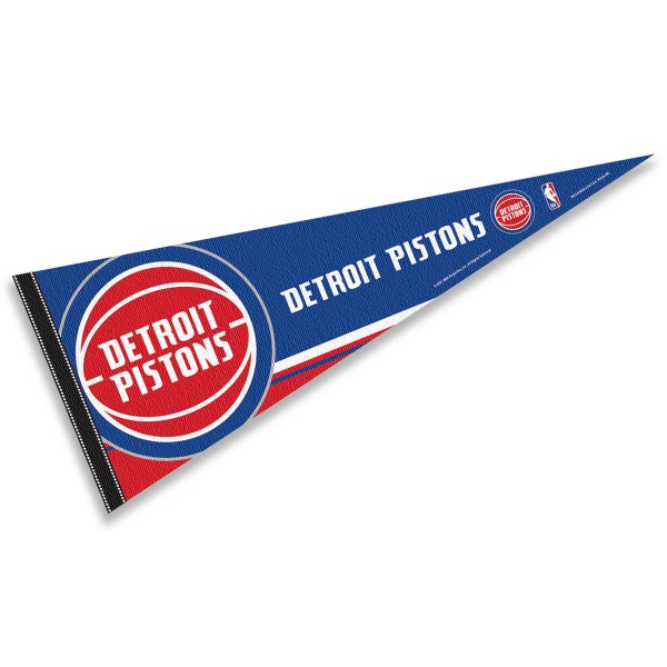 This Detroit Pistons Pennant measures 12x30 inches, is constructed of felt, and is single sided screen printed with the Detroit Pistons logo and insignia. Each Detroit Pistons Pennant is a NBA Officially Licensed product.
