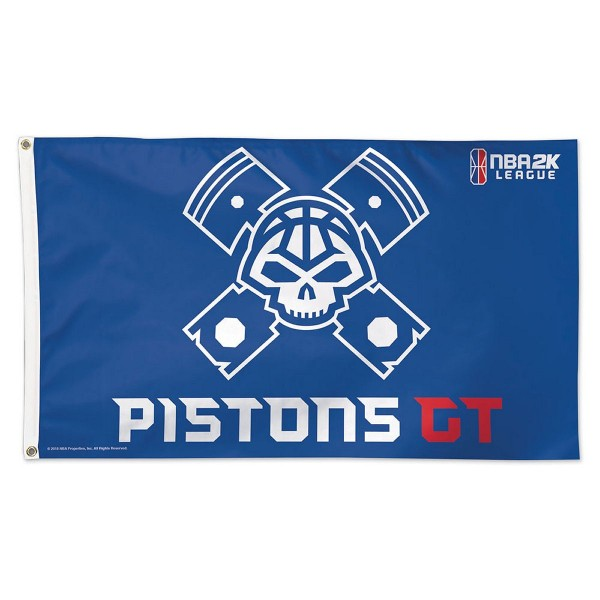 Detroit Pistons Pistons GT NBA2K Gaming Flag measures 3x5 feet and offers 4 stitched flyends for durability. Detroit Pistons Pistons GT NBA2K Gaming Flag is made of 1-ply polyester, has two metal grommets, and is viewable from both sides with the opposite side being a reverse image. This Detroit Pistons Pistons GT NBA2K Gaming Flag is Officially Approved by the Detroit Pistons and the NBA.